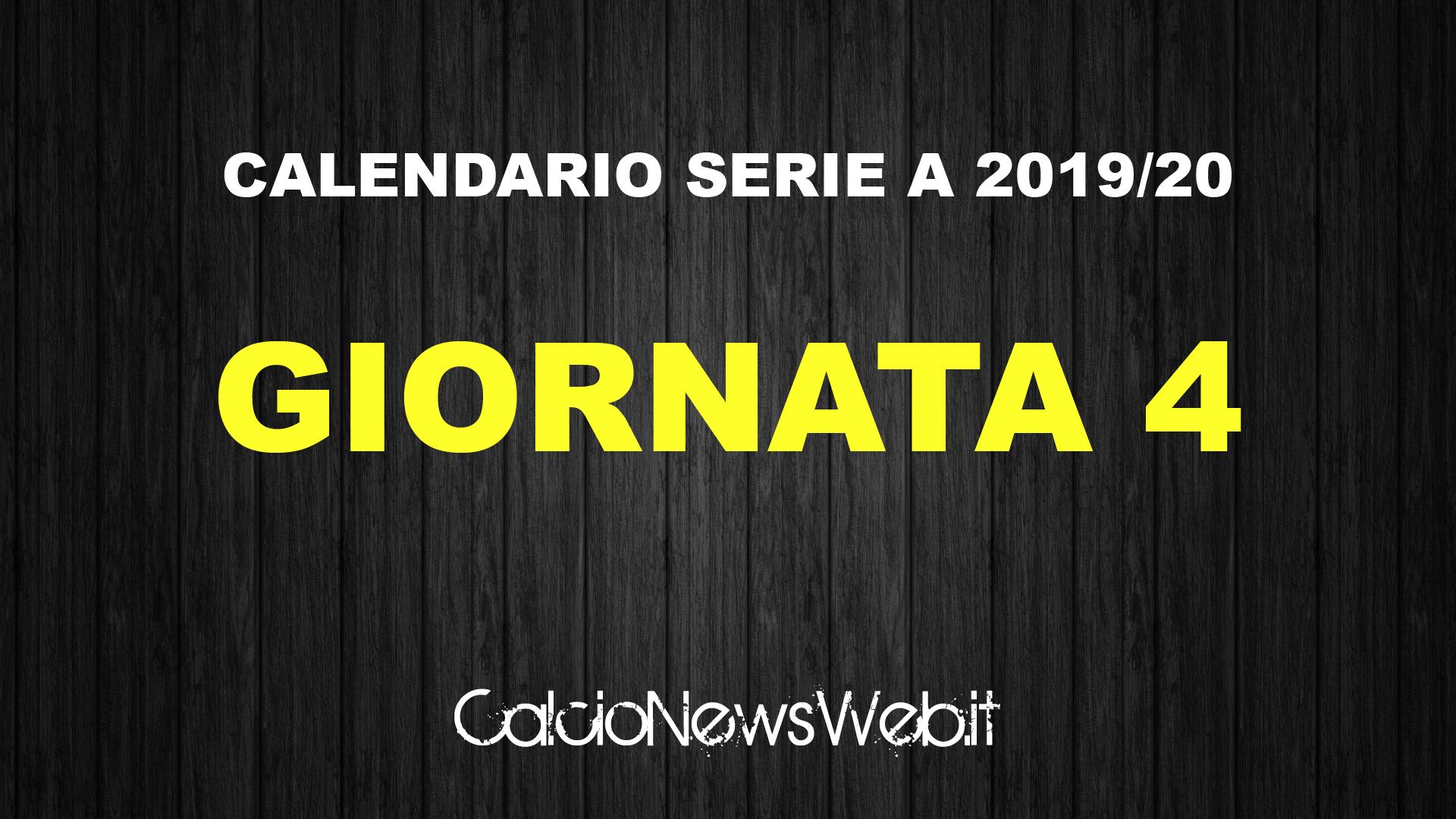 Calendario Serie A Ecco Le Partite Della Quarta Giornata Calcionewsweb It